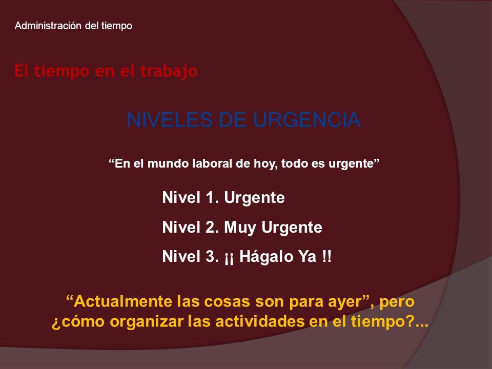 Administración del tiempo En el mundo laboral de hoy, todo es urgente NIVELES DE URGENCIA Nivel 1. Urgente Nivel 2. Muy Urgente Nivel 3. ¡¡ Hágalo Ya