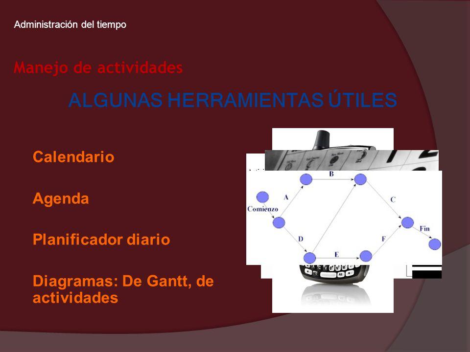 Administración del tiempo Manejo de actividades ALGUNAS HERRAMIENTAS ÚTILES Calendario Agenda Planificador diario Diagramas: De Gantt, de actividades