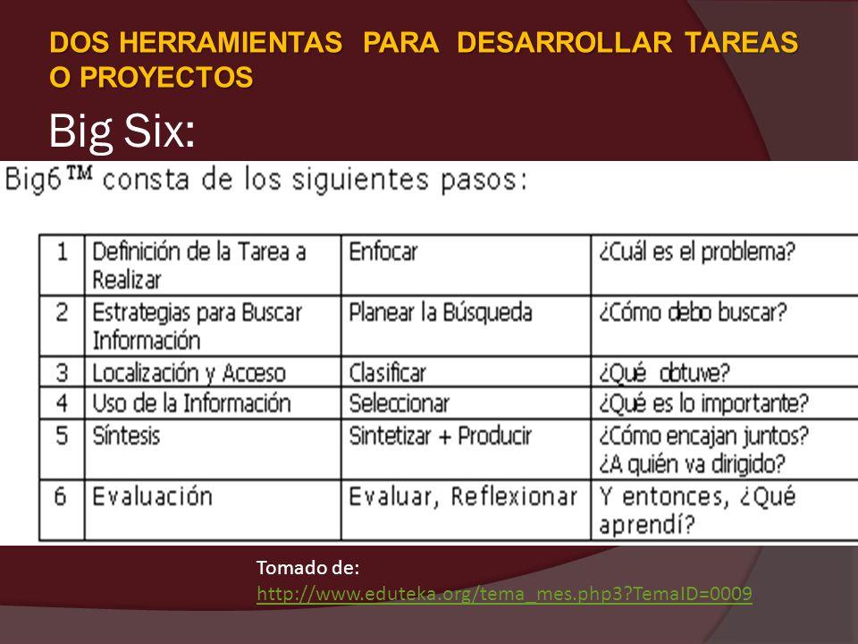 Big Six: Tomado de: http://www.eduteka.org/tema_mes.php3?TemaID=0009 http://www.eduteka.org/tema_mes.php3?TemaID=0009 DOS HERRAMIENTAS PARA DESARROLLA