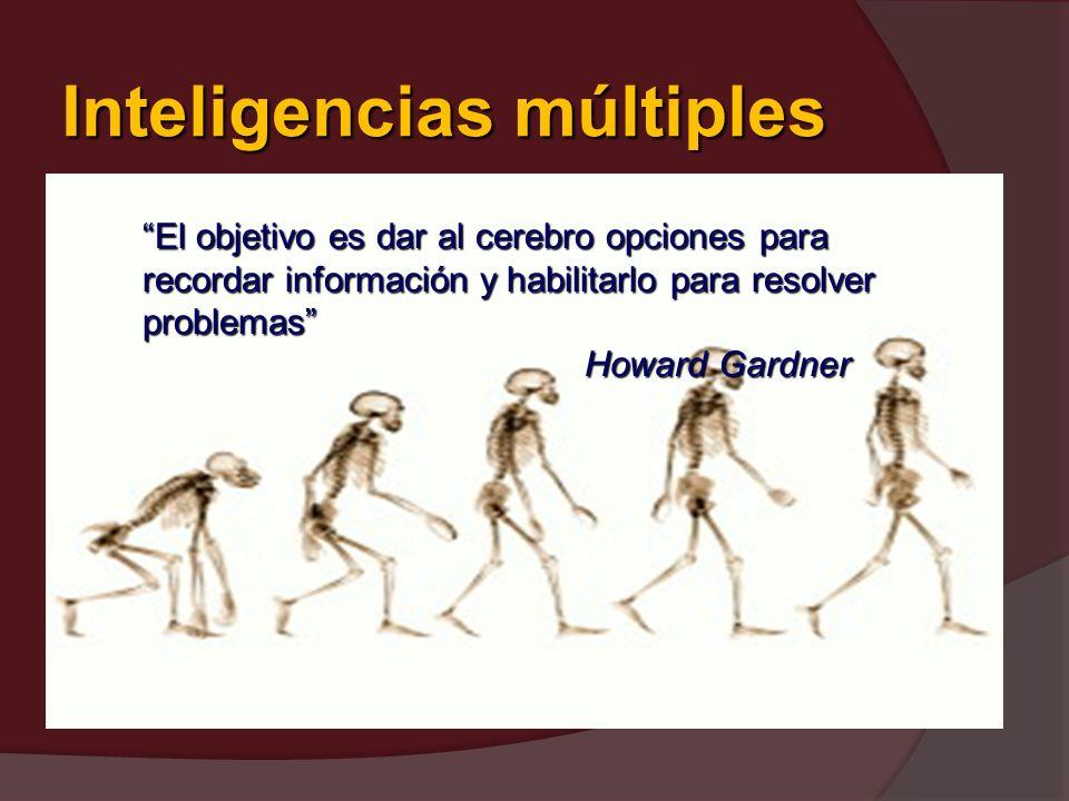 Inteligencias múltiples El objetivo es dar al cerebro opciones para recordar información y habilitarlo para resolver problemas Howard Gardner Howard G