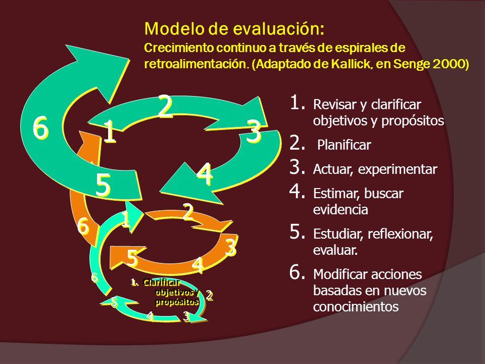 1. Revisar y clarificar objetivos y propósitos 2. Planificar 3. Actuar, experimentar 4. Estimar, buscar evidencia 5. Estudiar, reflexionar, evaluar. 6