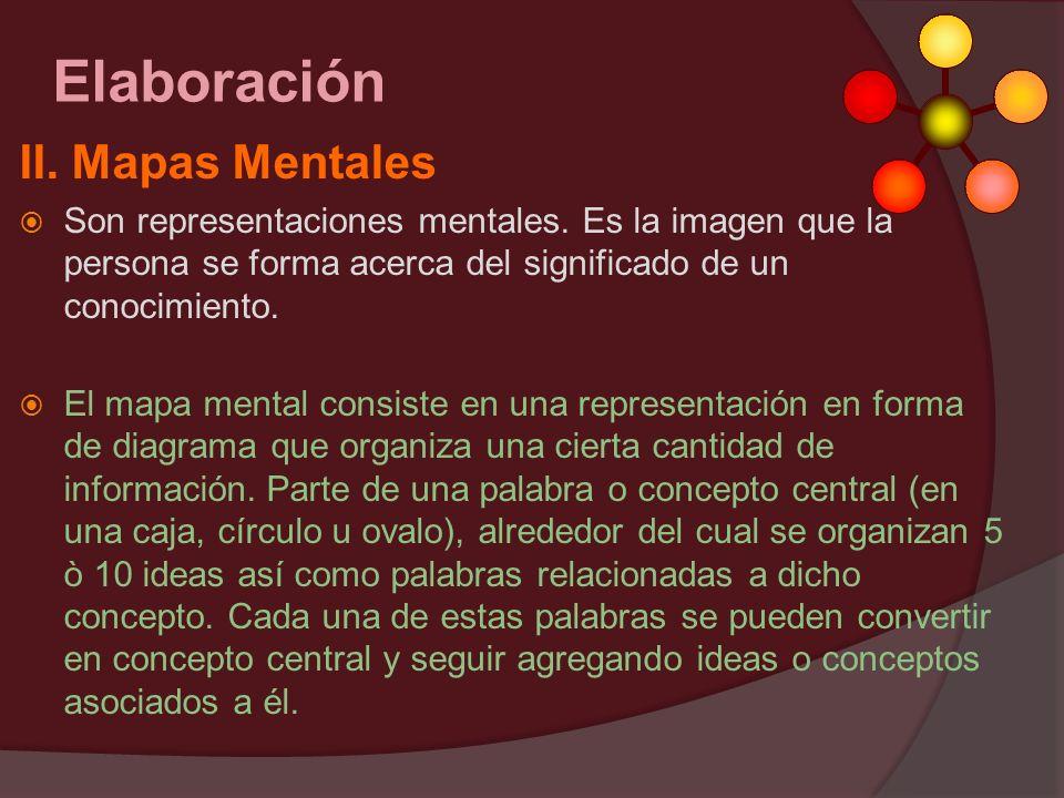 II. Mapas Mentales Son representaciones mentales. Es la imagen que la persona se forma acerca del significado de un conocimiento. El mapa mental consi