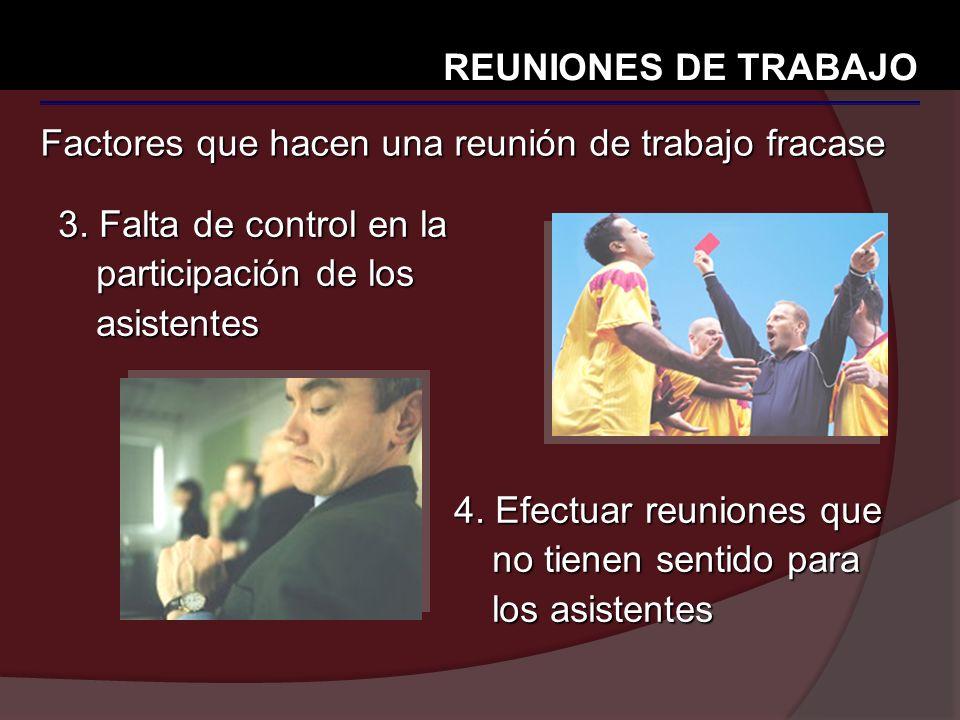 Factores que hacen una reunión de trabajo fracase REUNIONES DE TRABAJO 3. Falta de control en la participación de los asistentes 4. Efectuar reuniones