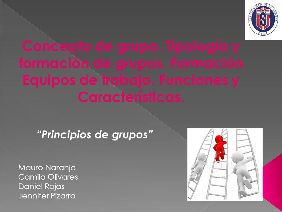 Concepto de grupo. Tipología y formación de grupos. Formación Equipos de trabajo, Funciones y Características. Principios de grupos Mauro Naranjo Cami