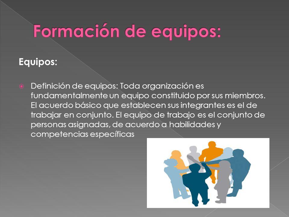 Equipos: Definición de equipos: Toda organización es fundamentalmente un equipo constituido por sus miembros. El acuerdo básico que establecen sus int