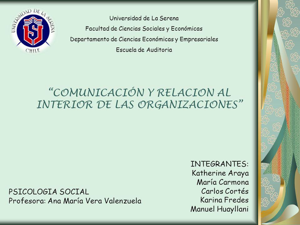COMUNICACIÓN Y RELACION AL INTERIOR DE LAS ORGANIZACIONES INTEGRANTES: Katherine Araya María Carmona Carlos Cortés Karina Fredes Manuel Huayllani Univ