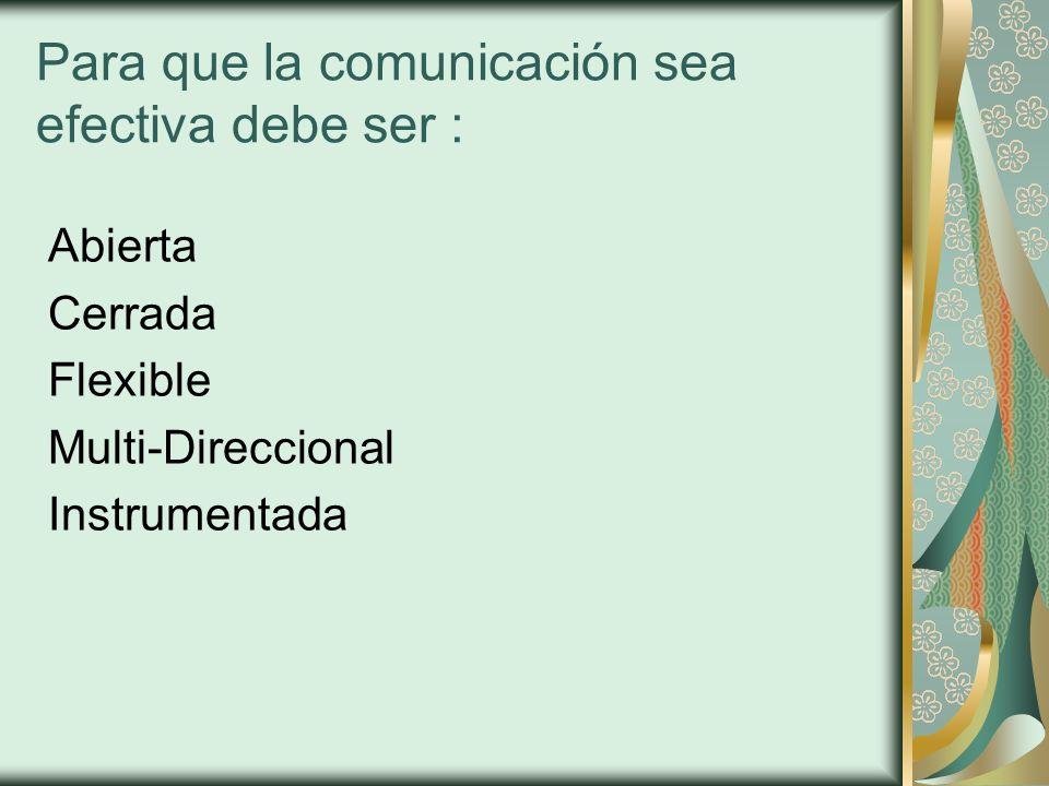 Para que la comunicación sea efectiva debe ser : Abierta Cerrada Flexible Multi-Direccional Instrumentada
