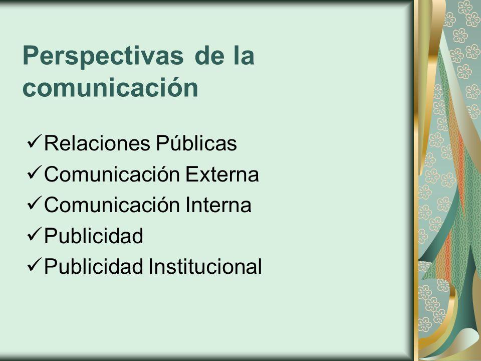 Perspectivas de la comunicación Relaciones Públicas Comunicación Externa Comunicación Interna Publicidad Publicidad Institucional