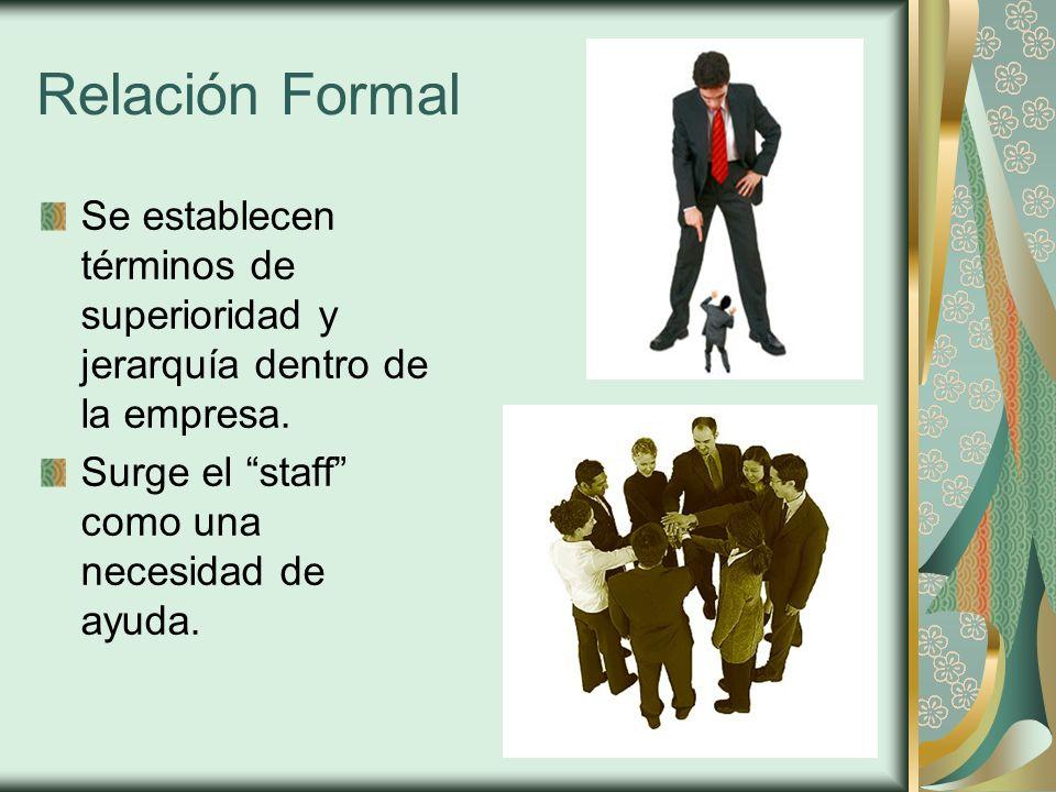 Relación Formal Se establecen términos de superioridad y jerarquía dentro de la empresa. Surge el staff como una necesidad de ayuda.