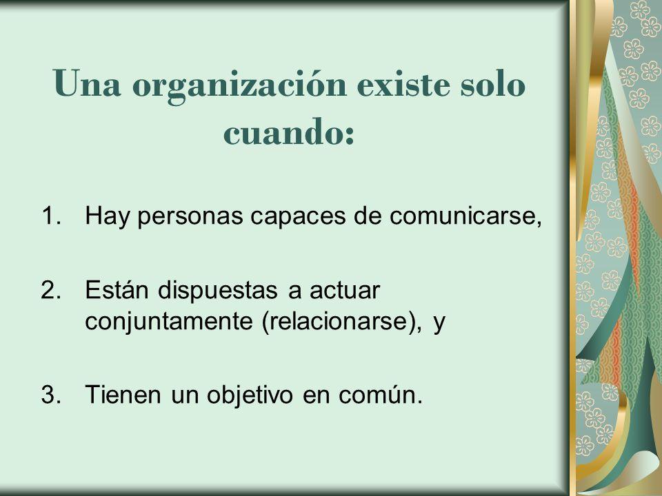 Una organización existe solo cuando: 1.Hay personas capaces de comunicarse, 2.Están dispuestas a actuar conjuntamente (relacionarse), y 3.Tienen un ob
