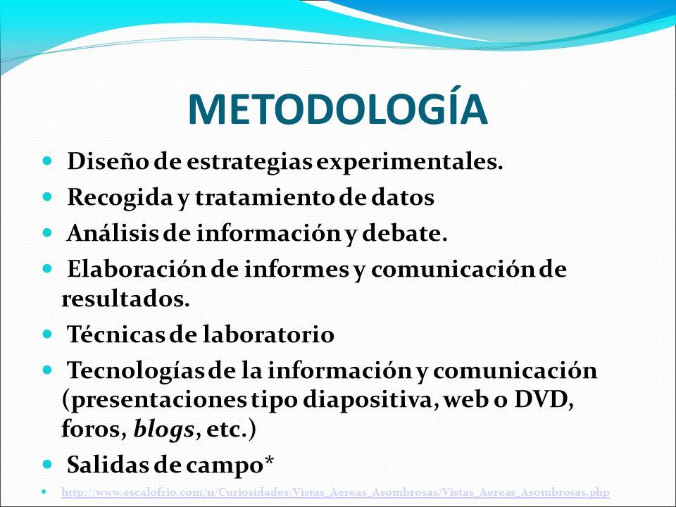 METODOLOGÍA Diseño de estrategias experimentales. Recogida y tratamiento de datos Análisis de información y debate. Elaboración de informes y comunica