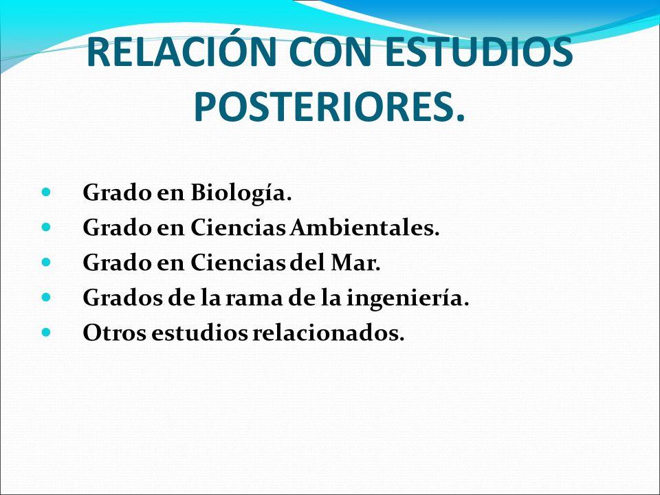 RELACIÓN CON ESTUDIOS POSTERIORES.Grado en Biología.