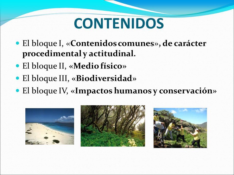 CONTENIDOS El bloque I, «Contenidos comunes», de carácter procedimental y actitudinal. El bloque II, «Medio físico» El bloque III, «Biodiversidad» El