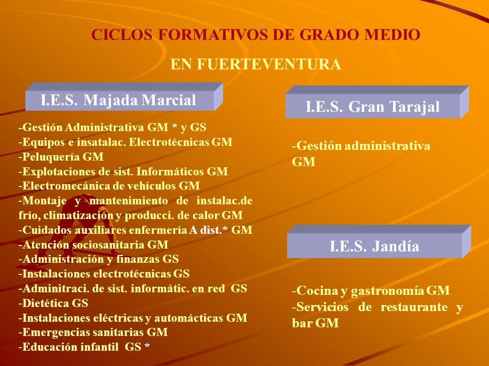 CICLOS FORMATIVOS DE GRADO MEDIO Duración corta 1/2 años. Estructura modular. Formación en Centros de Trabajo. Módulos profesionales (Asignaturas) Tít