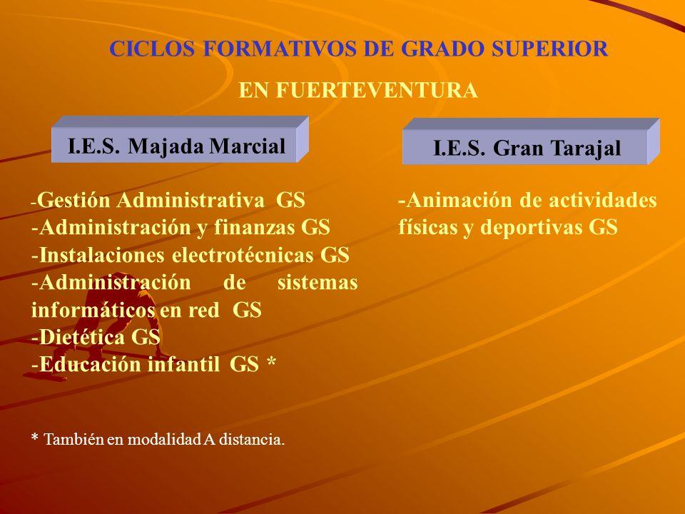 CICLOS FORMATIVOS DE GRADO SUPERIOR Desde los CFGM se accede mediante una prueba general de conocimientos al CFGS Desde Bachillerato se accede directa
