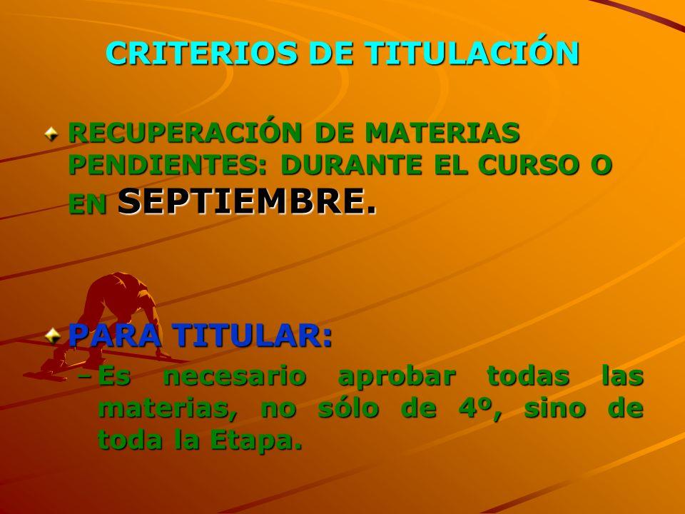 CRITERIOS DE TITULACIÓN RECUPERACIÓN DE MATERIAS PENDIENTES: DURANTE EL CURSO O EN SEPTIEMBRE.