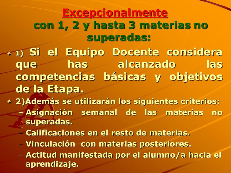 Excepcionalmente con 1, 2 y hasta 3 materias no superadas: 1) Si el Equipo Docente considera que has alcanzado las competencias básicas y objetivos de la Etapa.