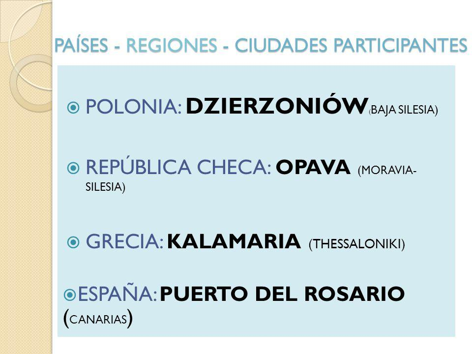 PAÍSES - REGIONES - CIUDADES PARTICIPANTES POLONIA: DZIERZONIÓW ( BAJA SILESIA) REPÚBLICA CHECA: OPAVA (MORAVIA- SILESIA) GRECIA: KALAMARIA (THESSALONIKI) ESPAÑA: PUERTO DEL ROSARIO ( CANARIAS )