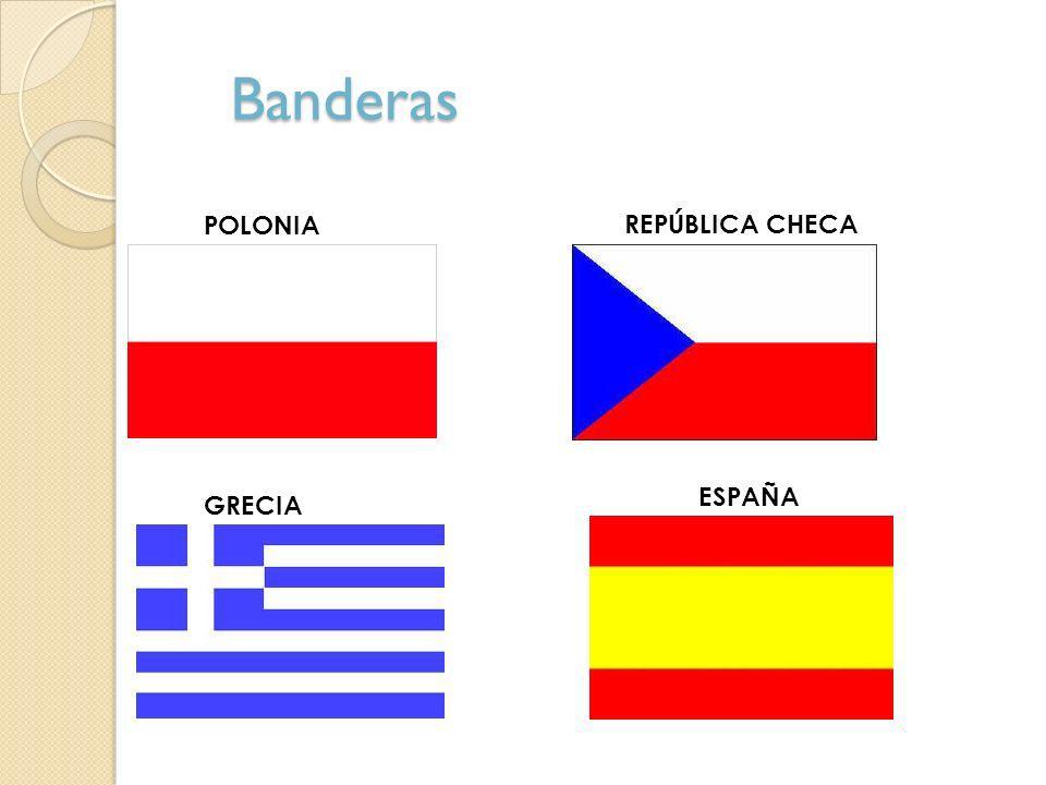 Banderas POLONIA REPÚBLICA CHECA GRECIA ESPAÑA
