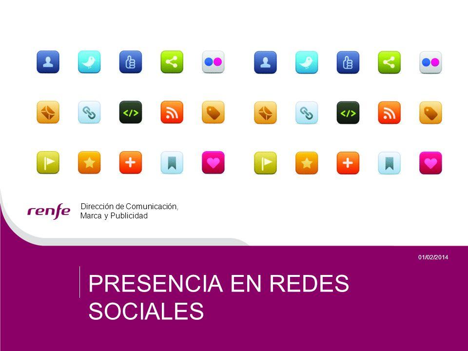 Dirección de Comunicación, Marca y Publicidad 12 01/02/2014 DIRECCIÓN DE RELACIONES CON LOS MEDIOS PRESENCIA EN REDES SOCIALES Renfe en Twitter