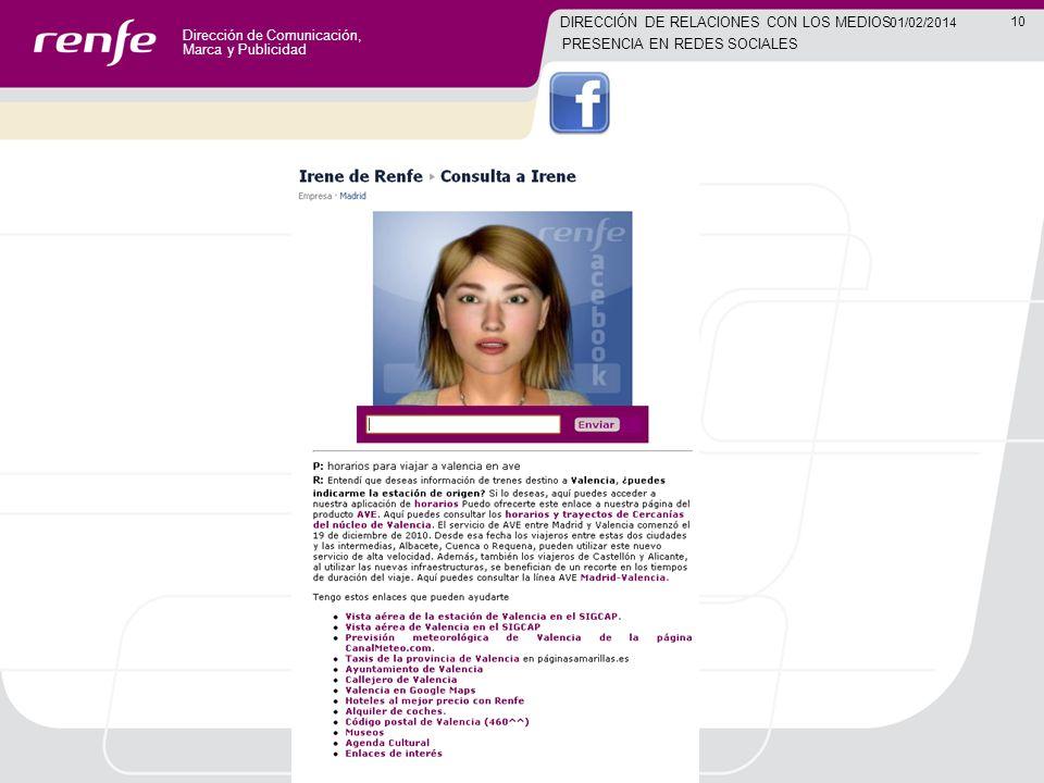 Dirección de Comunicación, Marca y Publicidad 10 01/02/2014 DIRECCIÓN DE RELACIONES CON LOS MEDIOS PRESENCIA EN REDES SOCIALES