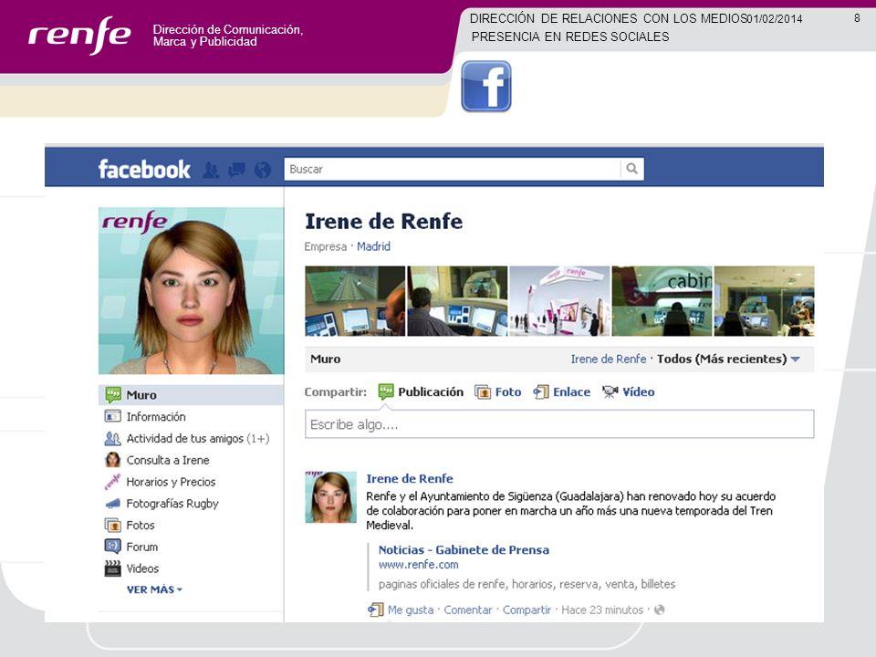 Dirección de Comunicación, Marca y Publicidad 8 01/02/2014 DIRECCIÓN DE RELACIONES CON LOS MEDIOS PRESENCIA EN REDES SOCIALES