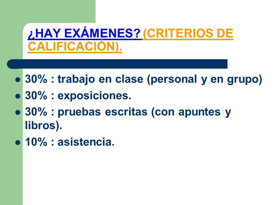 ¿HAY EXÁMENES? (CRITERIOS DE CALIFICACIÓN). 30% : trabajo en clase (personal y en grupo) 30% : exposiciones. 30% : pruebas escritas (con apuntes y lib