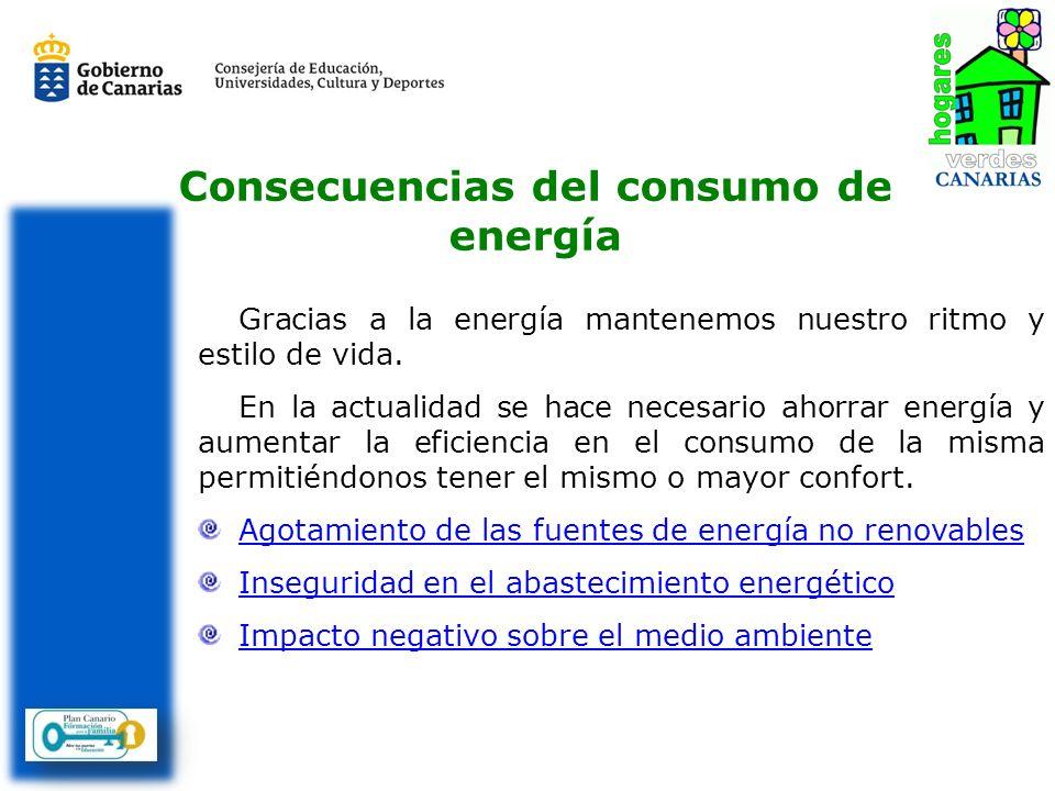 Consecuencias del consumo de energía Gracias a la energía mantenemos nuestro ritmo y estilo de vida. En la actualidad se hace necesario ahorrar energí