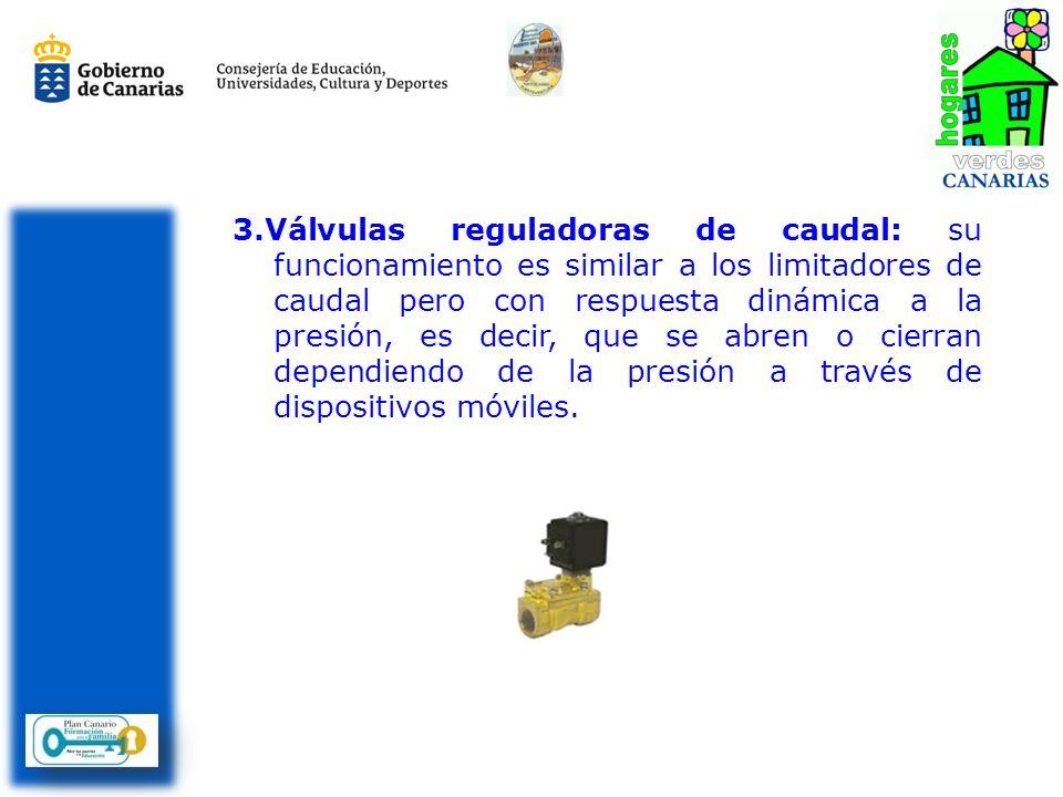 3.Válvulas reguladoras de caudal: su funcionamiento es similar a los limitadores de caudal pero con respuesta dinámica a la presión, es decir, que se