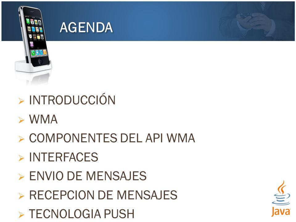 INTRODUCCIÓN WMA COMPONENTES DEL API WMA INTERFACES ENVIO DE MENSAJES RECEPCION DE MENSAJES TECNOLOGIA PUSH AGENDA