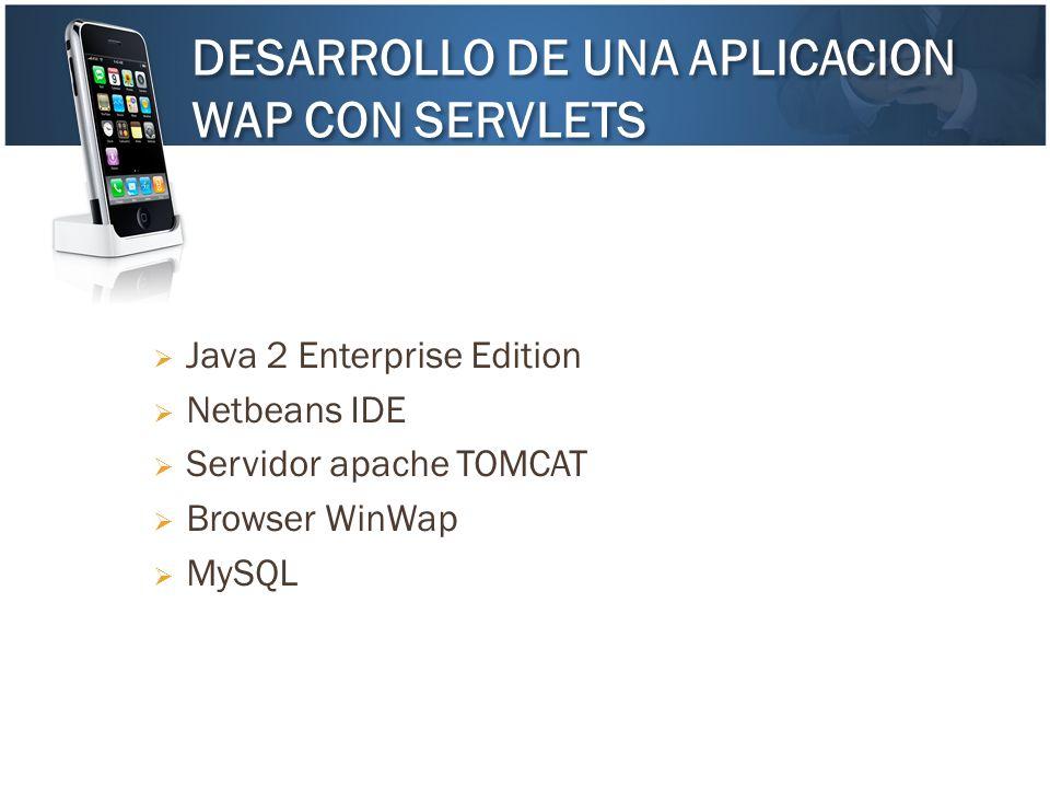 DESARROLLO DE UNA APLICACION WAP CON SERVLETS DESARROLLO DE UNA APLICACION WAP CON SERVLETS Java 2 Enterprise Edition Netbeans IDE Servidor apache TOM