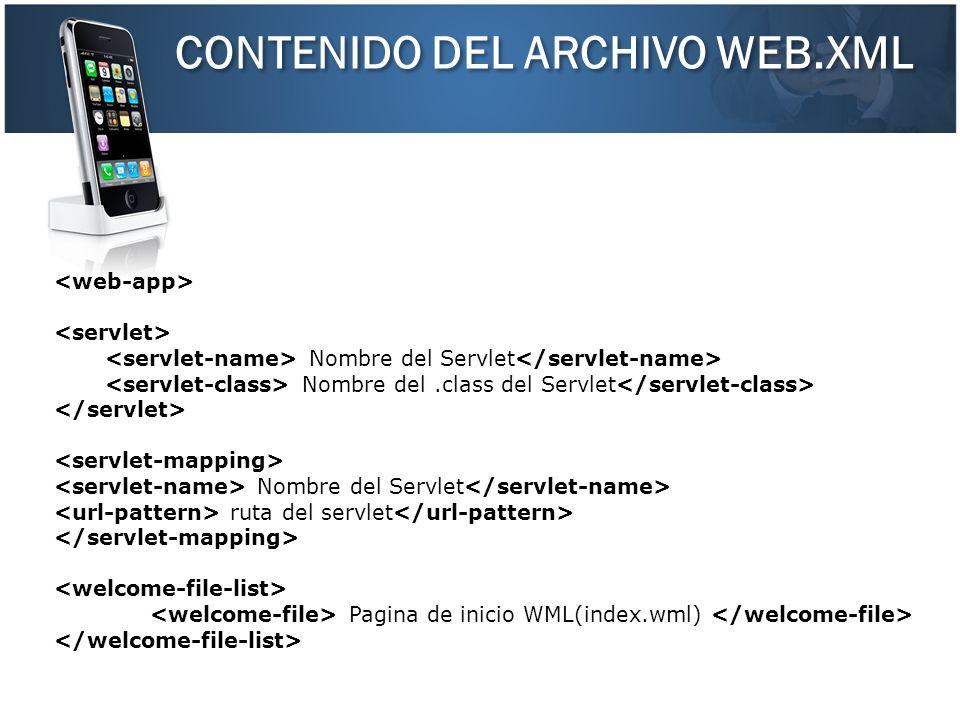 CONTENIDO DEL ARCHIVO WEB.XML Nombre del Servlet Nombre del.class del Servlet Nombre del Servlet ruta del servlet Pagina de inicio WML(index.wml)