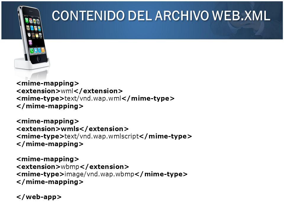 CONTENIDO DEL ARCHIVO WEB.XML wml text/vnd.wap.wml wmls text/vnd.wap.wmlscript wbmp image/vnd.wap.wbmp