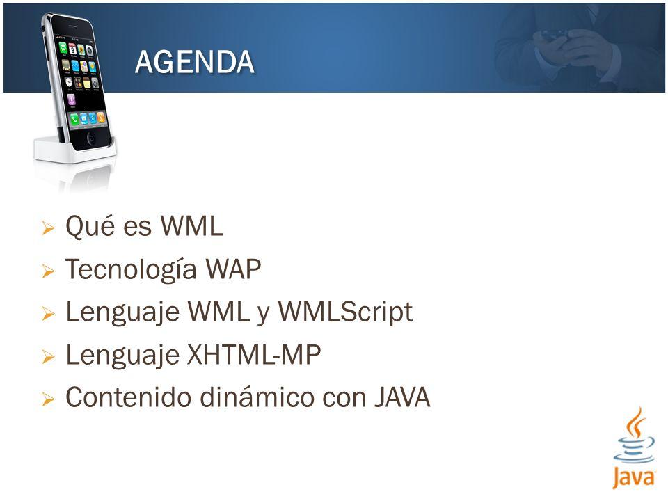 Qué es WML Tecnología WAP Lenguaje WML y WMLScript Lenguaje XHTML-MP Contenido dinámico con JAVA AGENDA