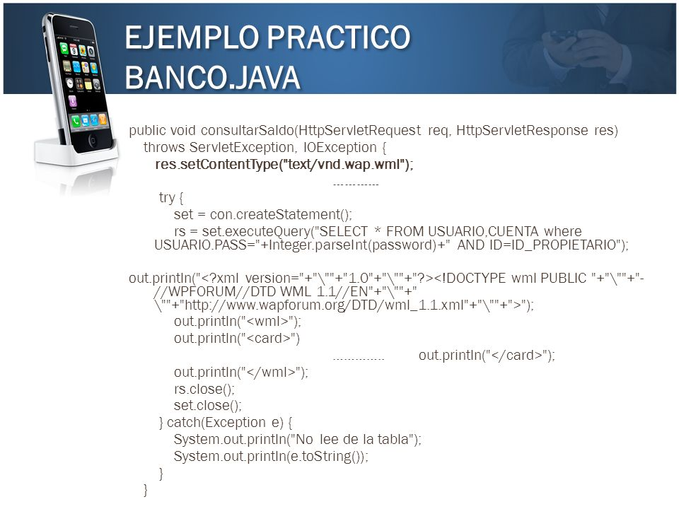 EJEMPLO PRACTICO BANCO.JAVA EJEMPLO PRACTICO BANCO.JAVA public void consultarSaldo(HttpServletRequest req, HttpServletResponse res) throws ServletExce