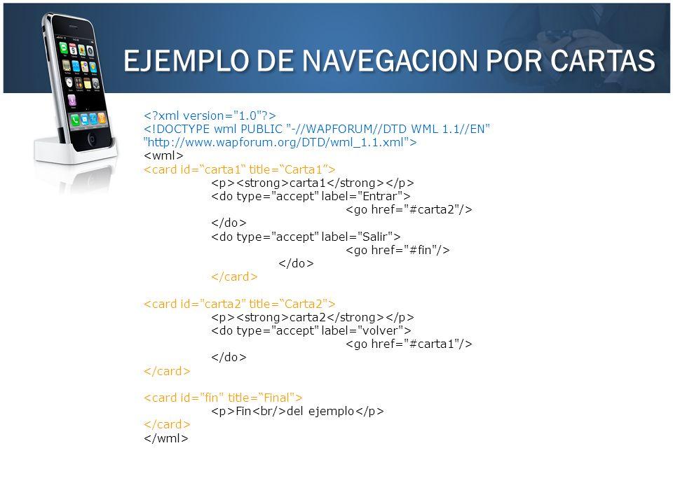 EJEMPLO DE NAVEGACION POR CARTAS carta1 carta2 Fin del ejemplo