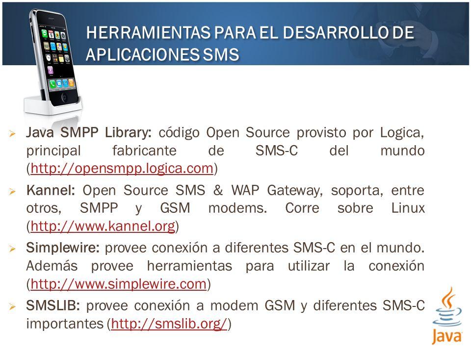 Java SMPP Library: código Open Source provisto por Logica, principal fabricante de SMS-C del mundo (http://opensmpp.logica.com)http://opensmpp.logica.