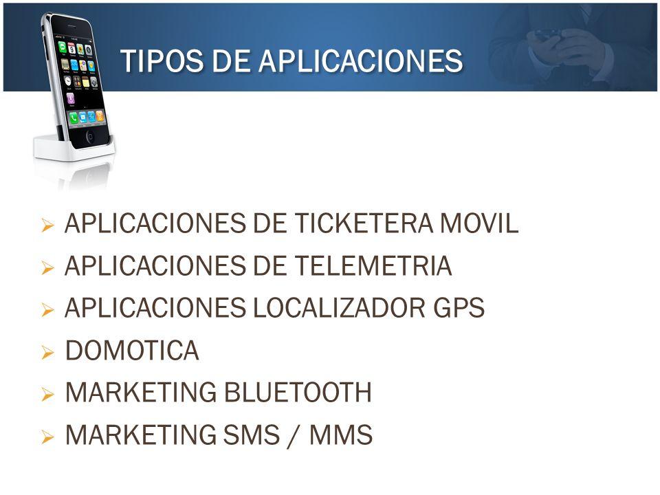 APLICACIONES DE TICKETERA MOVIL APLICACIONES DE TELEMETRIA APLICACIONES LOCALIZADOR GPS DOMOTICA MARKETING BLUETOOTH MARKETING SMS / MMS TIPOS DE APLI