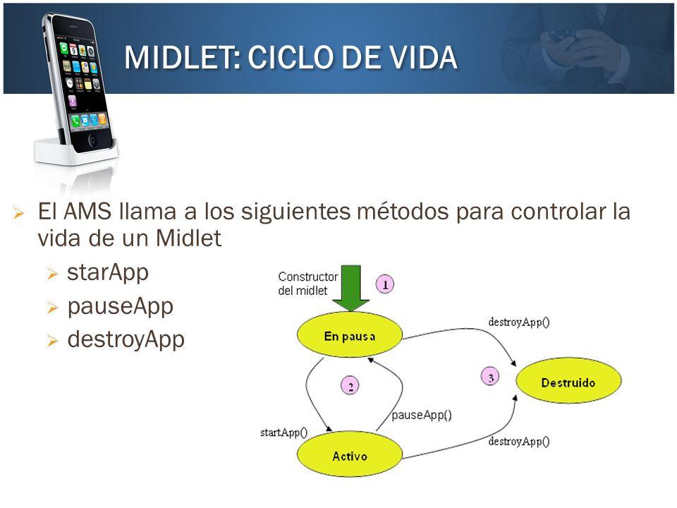 El AMS llama a los siguientes métodos para controlar la vida de un Midlet starApp pauseApp destroyApp MIDLET: CICLO DE VIDA