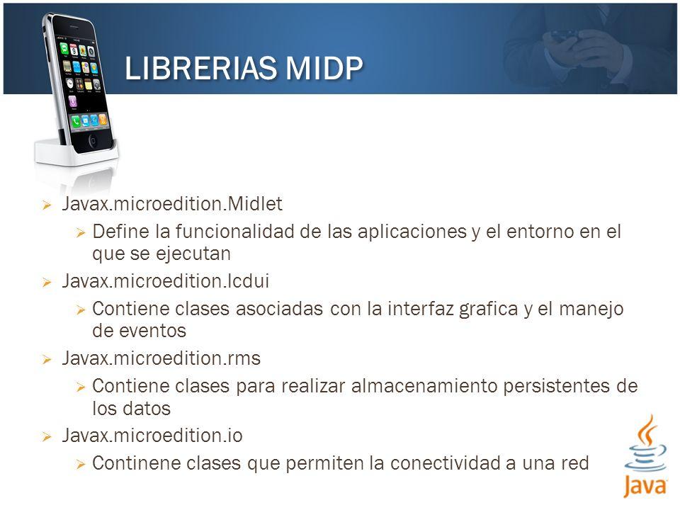 Javax.microedition.Midlet Define la funcionalidad de las aplicaciones y el entorno en el que se ejecutan Javax.microedition.lcdui Contiene clases asoc