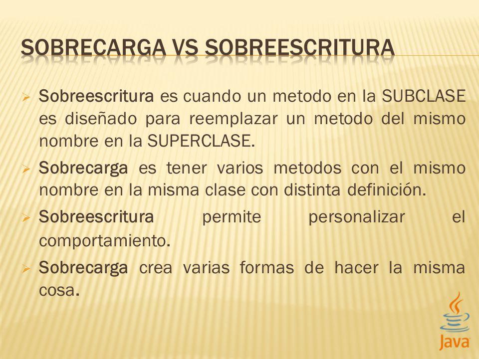 Sobreescritura es cuando un metodo en la SUBCLASE es diseñado para reemplazar un metodo del mismo nombre en la SUPERCLASE. Sobrecarga es tener varios