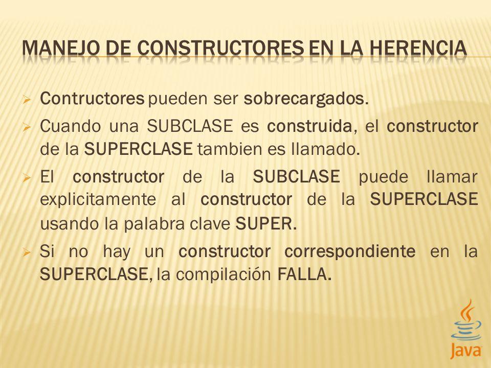Contructores pueden ser sobrecargados. Cuando una SUBCLASE es construida, el constructor de la SUPERCLASE tambien es llamado. El constructor de la SUB