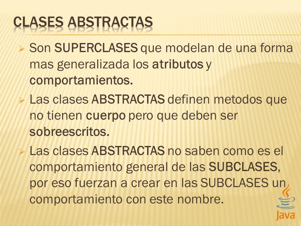 Son SUPERCLASES que modelan de una forma mas generalizada los atributos y comportamientos. Las clases ABSTRACTAS definen metodos que no tienen cuerpo