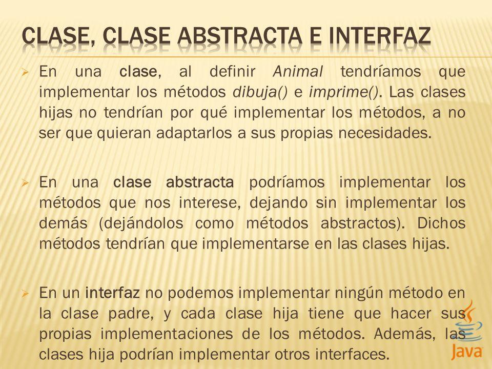En una clase, al definir Animal tendríamos que implementar los métodos dibuja() e imprime(). Las clases hijas no tendrían por qué implementar los méto
