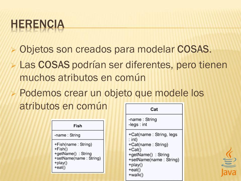 Objetos son creados para modelar COSAS. Las COSAS podrían ser diferentes, pero tienen muchos atributos en común Podemos crear un objeto que modele los