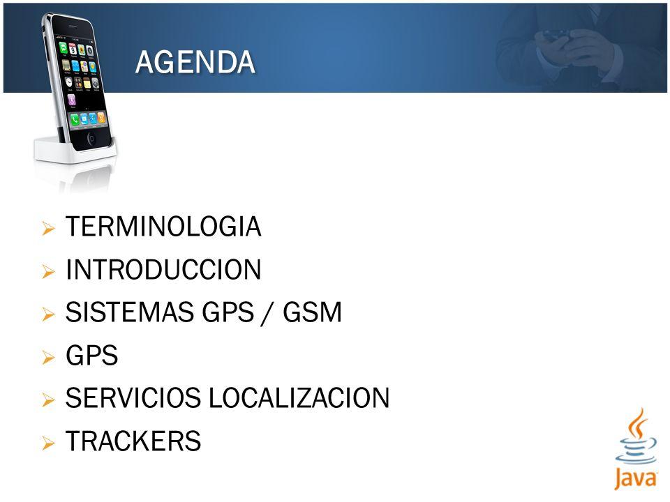 TERMINOLOGIA INTRODUCCION SISTEMAS GPS / GSM GPS SERVICIOS LOCALIZACION TRACKERS AGENDA