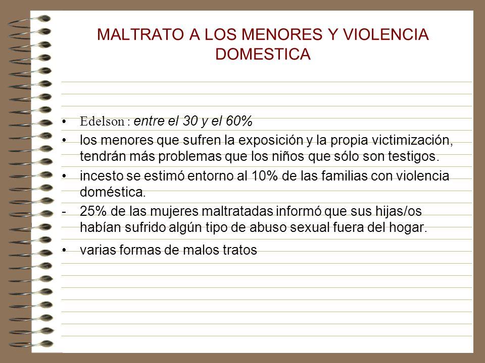 MALTRATO A LOS MENORES Y VIOLENCIA DOMESTICA Edelson : entre el 30 y el 60% los menores que sufren la exposición y la propia victimización, tendrán más problemas que los niños que sólo son testigos.