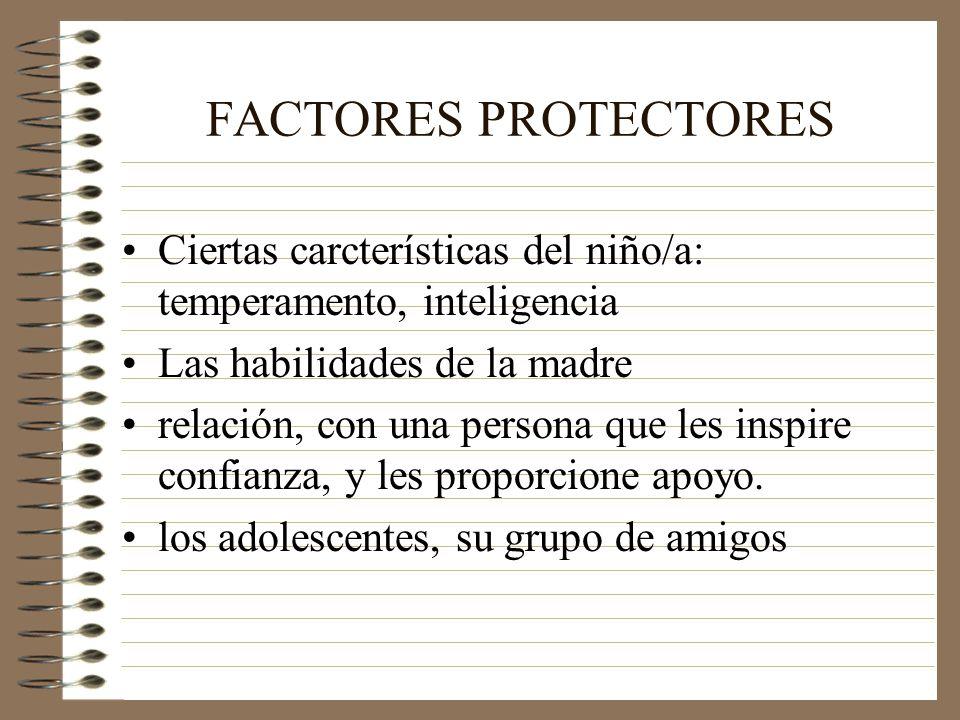 FACTORES PROTECTORES Ciertas carcterísticas del niño/a: temperamento, inteligencia Las habilidades de la madre relación, con una persona que les inspire confianza, y les proporcione apoyo.