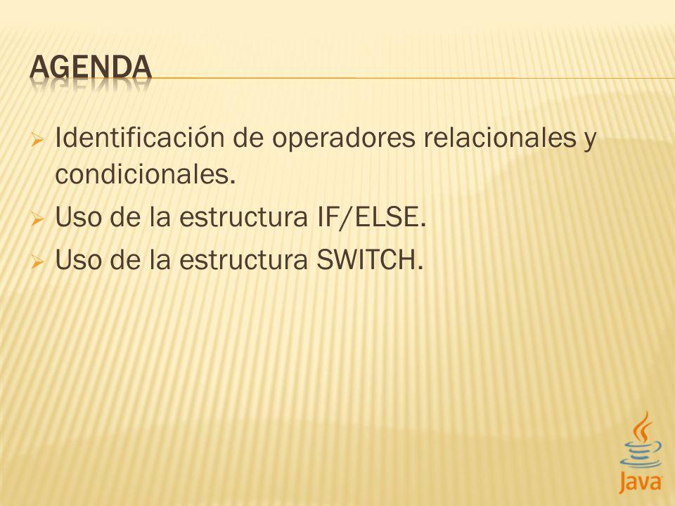 Identificación de operadores relacionales y condicionales.