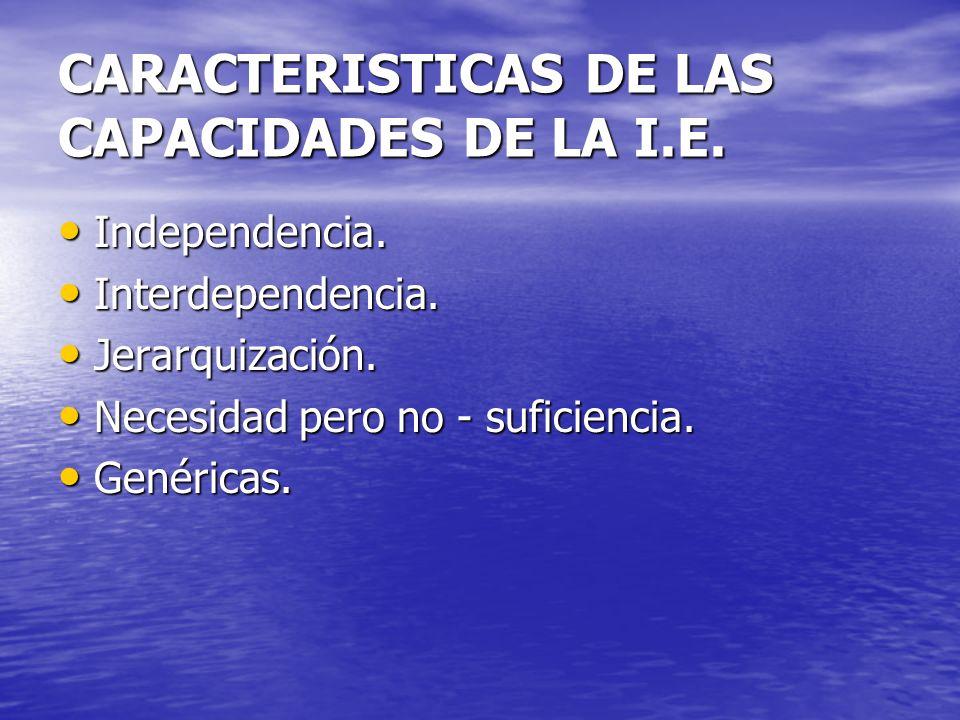 CARACTERISTICAS DE LAS CAPACIDADES DE LA I.E. Independencia. Independencia. Interdependencia. Interdependencia. Jerarquización. Jerarquización. Necesi